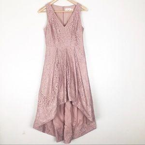 Eliza J  Pink Floral Lace High Low Formal Dress